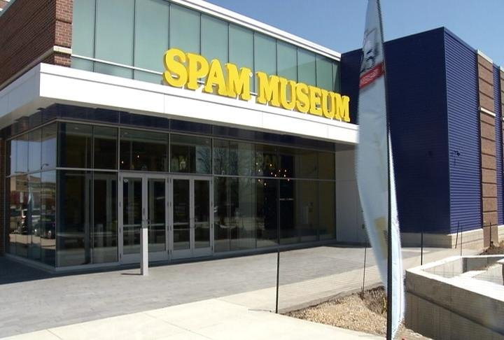 The exterior view of the brand new SPAM Museum, located in Austin, Minnesota.