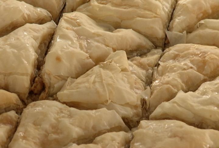 Baklava, a tradition Greek dessert, waits to be eaten at Greek Fest.