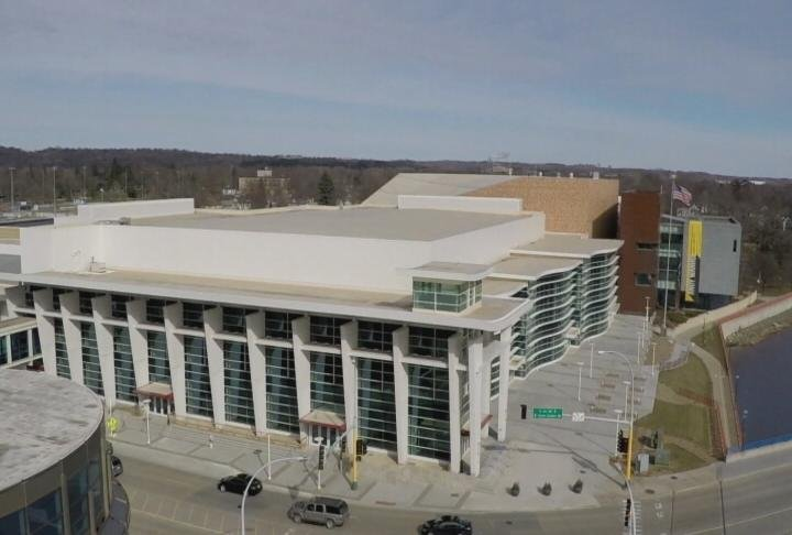 Drone footage of Mayo Civic Center taken on Friday, March 10th.