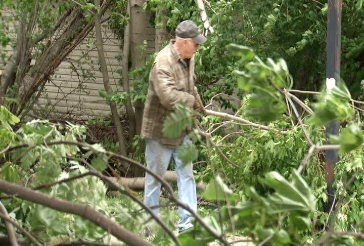 Art Schulz works on clearing branches from his front yard at his home in Elgin.