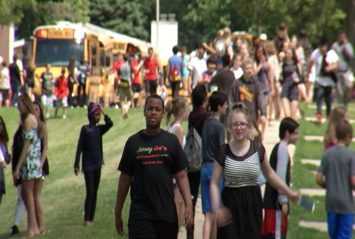 John Adams Middle School students leaving school for summer vacation.