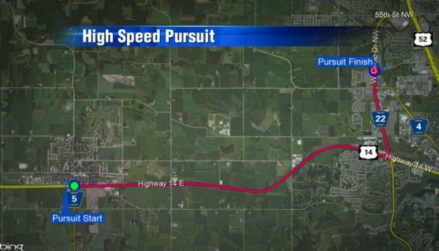 Route of high speed chase