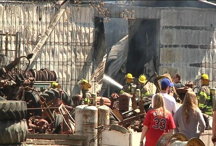 Fire crews battle Lansing work shed blaze