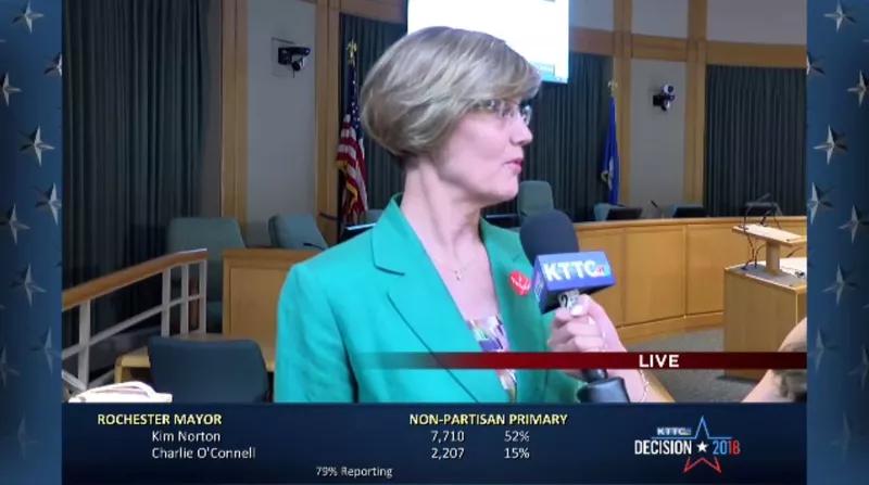 Kim Norton reacting to her huge win in Rochester Mayor primary.